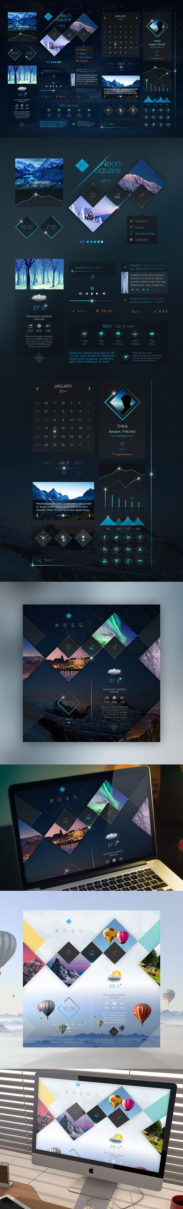 Neon Square UI Kit by Tintin s., via Behance