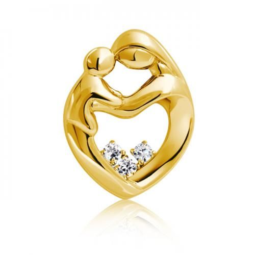 14K Yellow Gold Plated CZ Mother and Child Family Heart Pendant