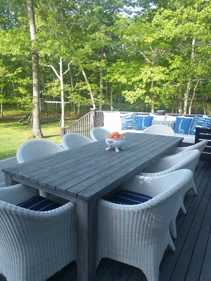 Kingsley Bate Cape Cod Dining Chairs With Grey Teak