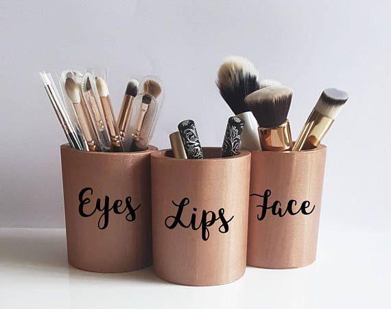 Rose Gold Decor, Make-up Pinselhalter, Make-up Vanity Decor, Rose Schreibtischzubehör, Lippenstifthalter, Make-up Topf, Make-up Aufbewahrung, Make-up Organizer