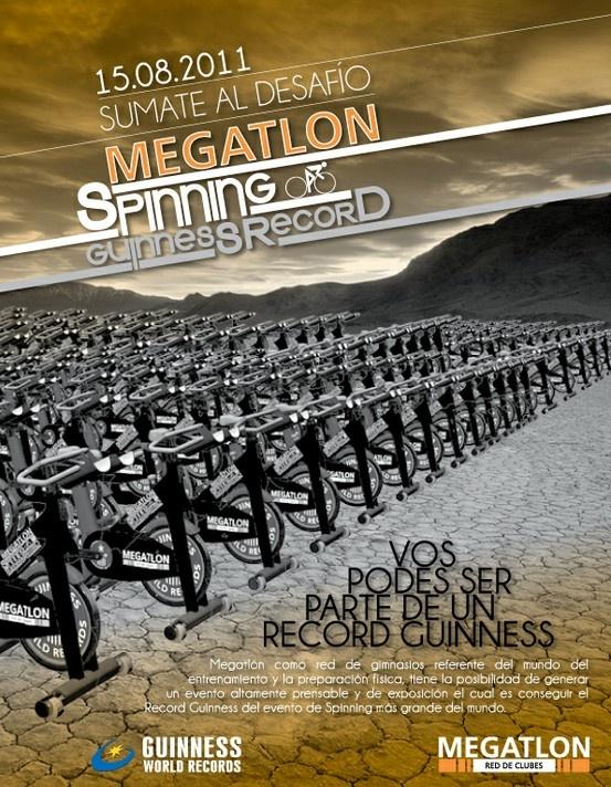 Publicidad Spinning Guinnes Record, Megatlon. Para 5 Yardas.