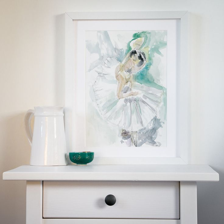Ballet wall art - ballerina print - best friend gift - turquoise watercolor…