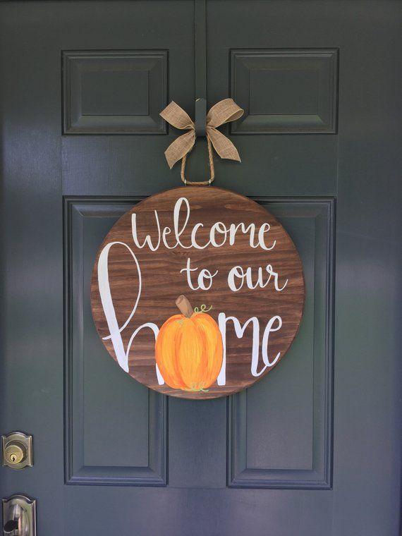 Fall Front Door Hanger. Welcome Door Hanger Pumpkin Door Hanger