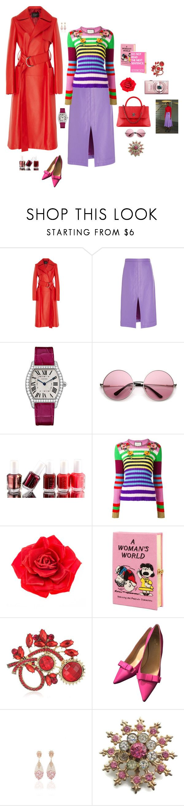 """Wear purple"" by mbarbosa ❤ liked on Polyvore featuring Derek Lam, Cartier, Essie, Gucci, Johnny Loves Rosie, Olympia Le-Tan, Chanel, Napier, Kate Spade and Hueb"