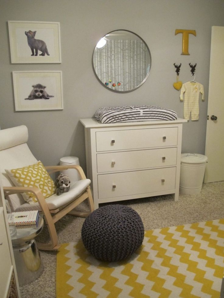 Love the grey and yellow and white, and the birch tree wall on opposite wall (seen in mirror reflection)