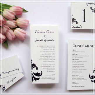 Esküvői meghívó – Fekete-fehér minta