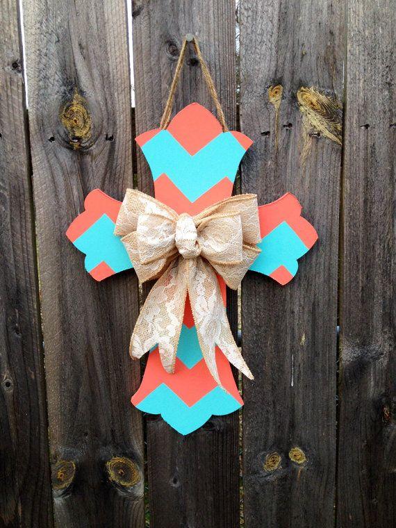 Chevron Cross Door Hanger with Burlap Bow by CraftyCoutureCandace