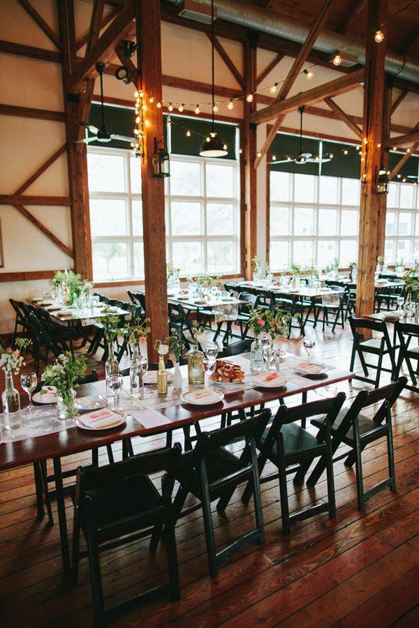 industrial barn wedding reception photo by