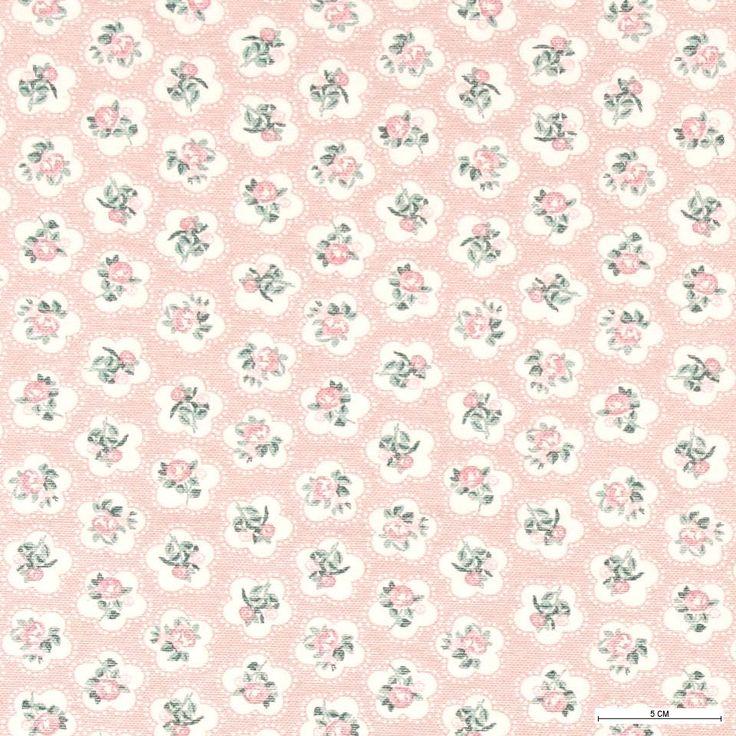 870255 Tekstilvoksdug rosa m blomster