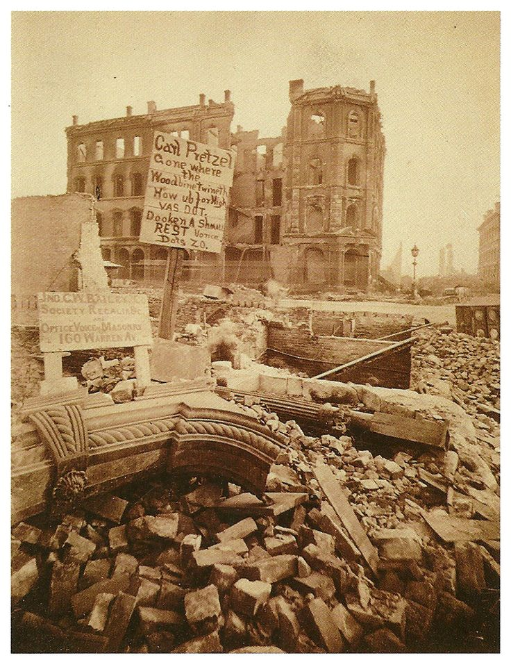 Dearborn and Madison (with the skeleton of the Chicago Tribune ) 1871, Chicago.