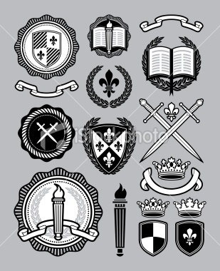 Collegiate style collection Royalty Free Stock Vector Art Illustration