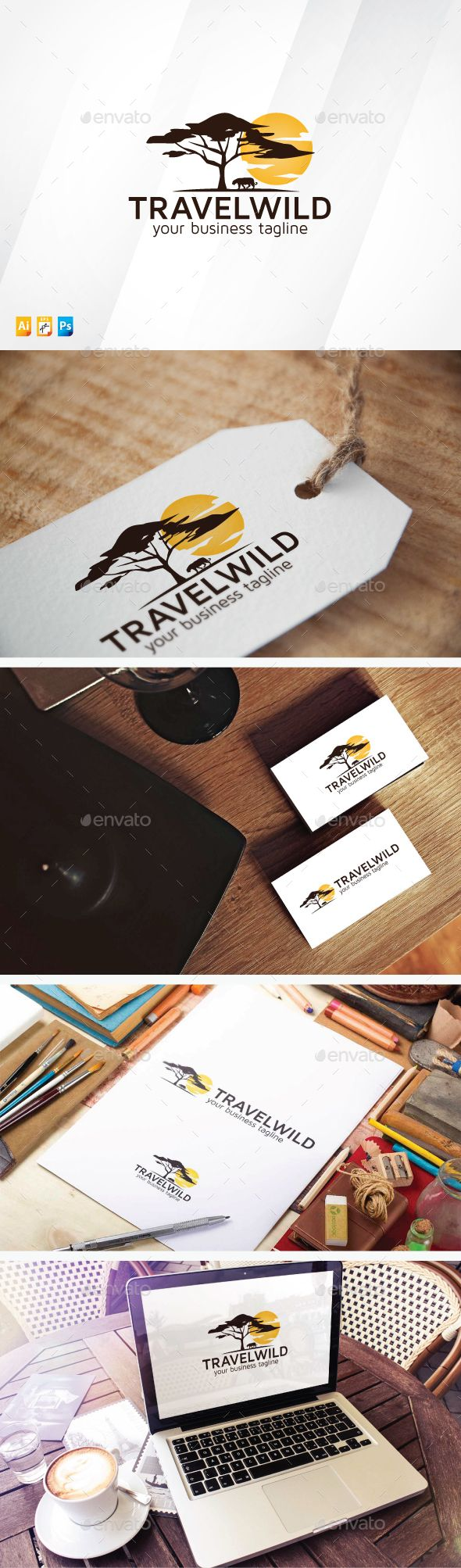 Travel Wild - Logo Design Template Vector #logotype Download it here: http://graphicriver.net/item/travel-wild/13398200?s_rank=373?ref=nexion