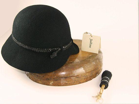 Black Cloche Hat  Womens Cloche Felt Hat by JustineHats on Etsy