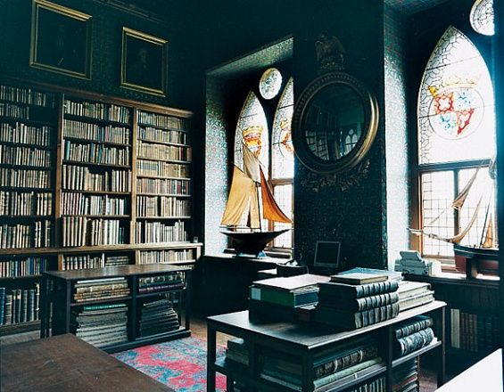 Mount Stuart House, Isle of Bute, Scotland. Home to the Marquess of Bute, Johnny Bute and his family.  ....this is his private library in the late 19th Century neo-gothic Scottish country estate. beautiful gothic arched stained glass windows, giant sailboats add a somewhat nautical touch. very old world, old money. royal aristocratic library, Downton Abbey type houses. built in the late 1870s
