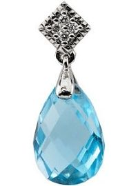 14 Karat White Gold Gold Blue Topaz & Diamond Pendant