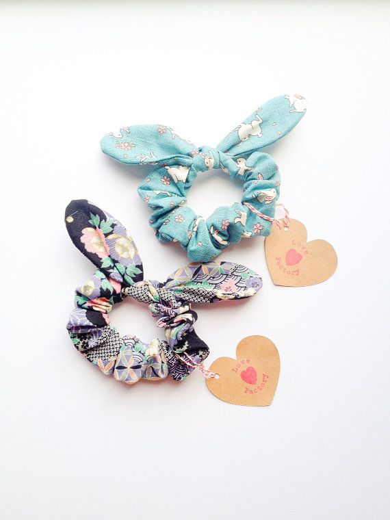 Pretty Cute Bunny Bow Hair Scrunchie Chou Chou Japanese Kimono pattern & cherry blossom bunny :) Spring Summer collection by Love Factory