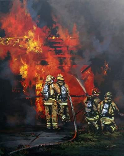 Firefighter Fine Art Print Structure Fire by Brushedmemories, $25.00