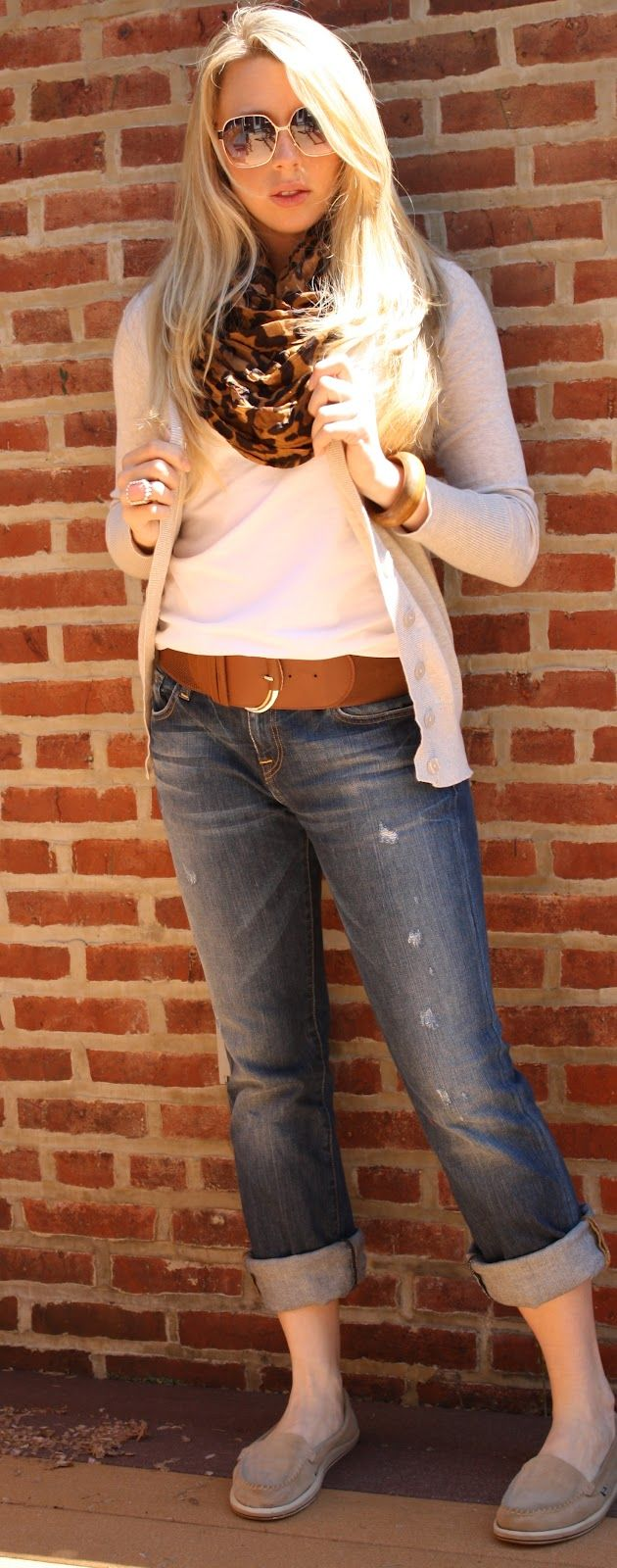 comfy casual <3 thick cuffed jeans to make into capri's, belt, cardigan, v'neck, and scarf . . . ahhh i loveee :)