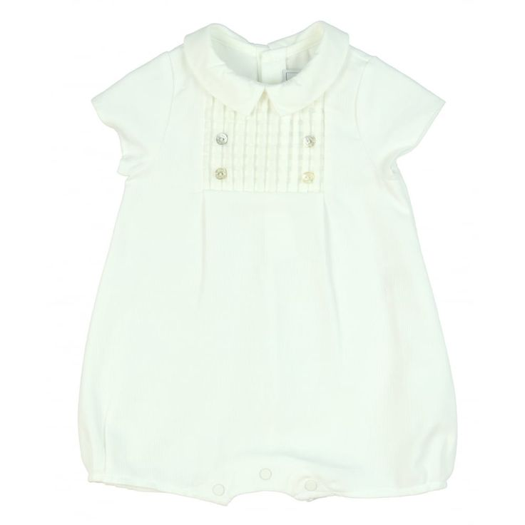 Baby Girls White Romper Suit with Woven Panel. Now available at www.chocolateclothing.co.uk
