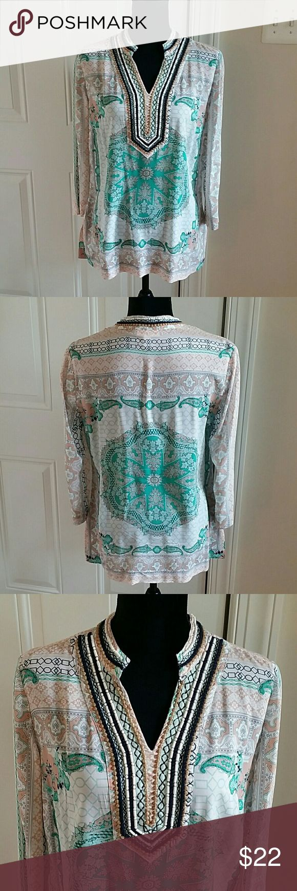 Charter club size S Tunic 👉 Description :  Colorful l Tunic l flowy l full sleeves l drapes nicely l beautiful bead work around neck.  👉 Material : 100% rayon.  👉 Color : multi color.  👉Condition : Excellent l No holes l No stains l No snags l No pilling l No damage.  👉Measurements will be provided on request.  👉Discount  with  bundles.   No trades 🚫 Charter Club Tops