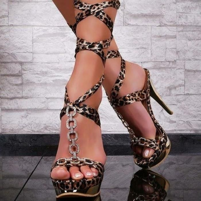 Sexy High Heels Platform Strappy Sandal In Leopard Gold | High ...