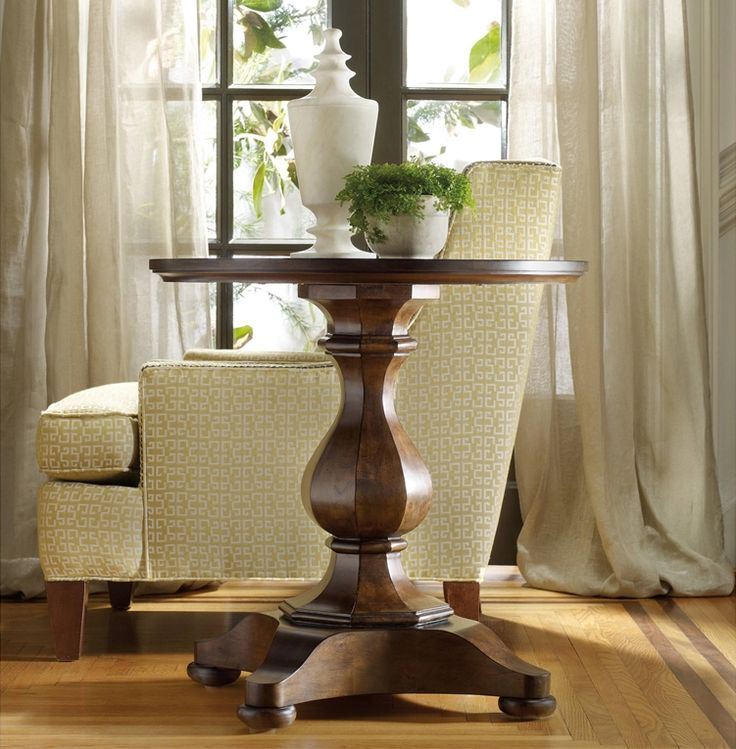 Hooker Furniture Classique Round Pedestal End Table In Medium Chestnut      Lowest Price Online On All Hooker Furniture Classique Round Pedestal End  Table In ...