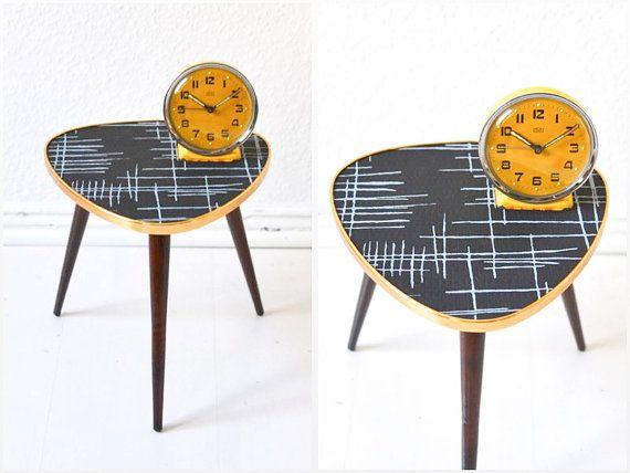 Vintage tripod black coffee table flower table kidney Formica Mid-Century Modern 60s GDR East Germany