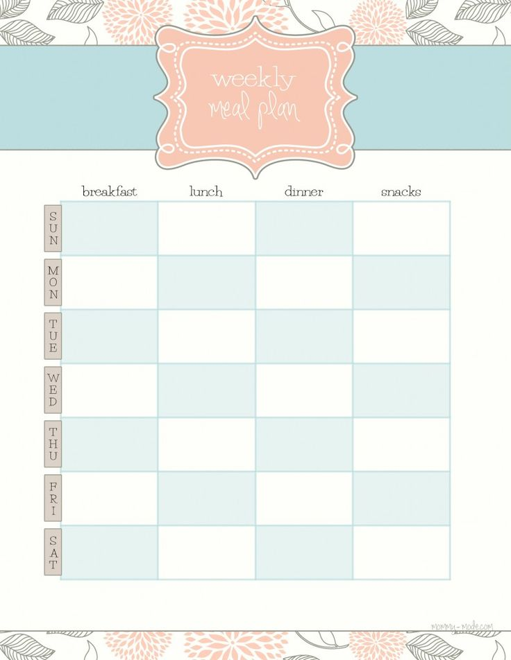Weekly Meal Plan | mommy-mode    Free printable... the first of a series of household planner/home management printables that will be posted weekly.  Bookmark!