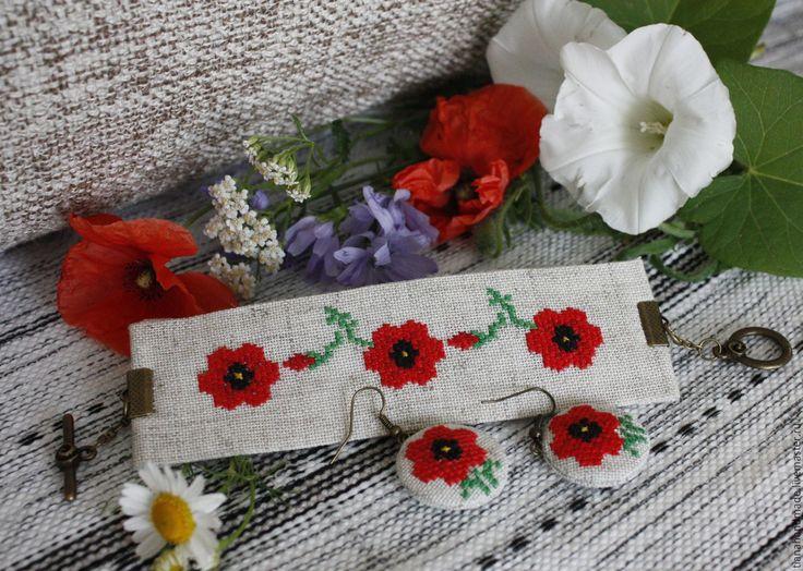 Купить Серьги и браслет бохо вышитые лён Красный мак - красный, маки, мак