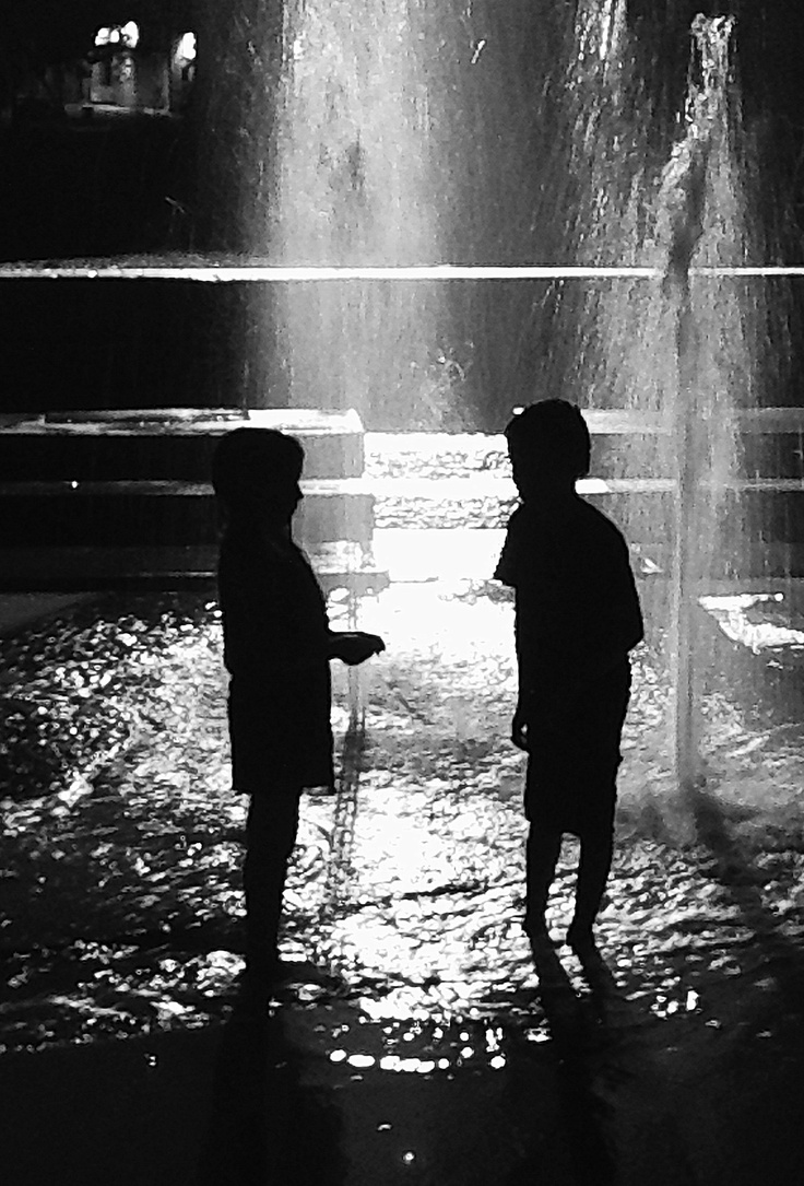 Late night water fountains