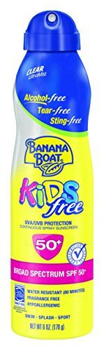 No white lotion to rub inFast and even coverageSprays at any angleEasy grip 6 fl ounce spray canNew actuator Kids ultramist sunscreen spf 50 continuous clear spray has a quick drying, rub-free formula that provides durable sun protection for those bouncy kids who don't want to stand still and are always on-the-go.         List Price: $ 10.   #Banana #Boat #Broad #Care #Free #Kids #Mist #Ounce #Spectrum #Spray #Sting #Sunscreen #TearFree #Ultra