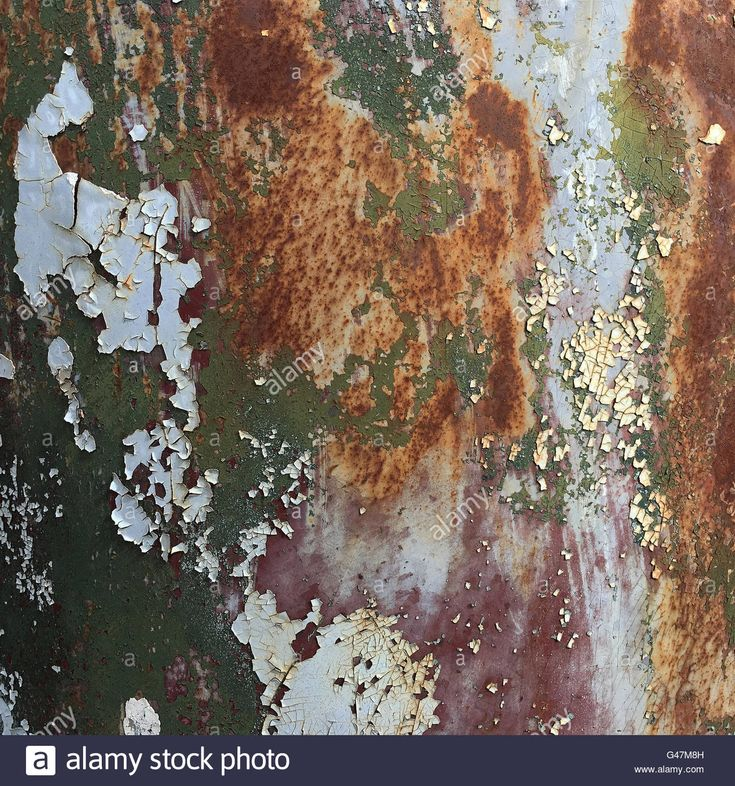 Peeling paint old car door and rusty texture background. Stock Photo