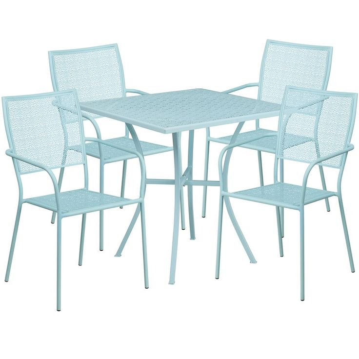 Westbury Square 28'' Sky Blue Indoor-Outdoor Steel Table Set w/4 Square Back Chairs for Restaurant/Bar/Pub/Patio, Size 5-Piece Sets, Patio Furniture (Iron)