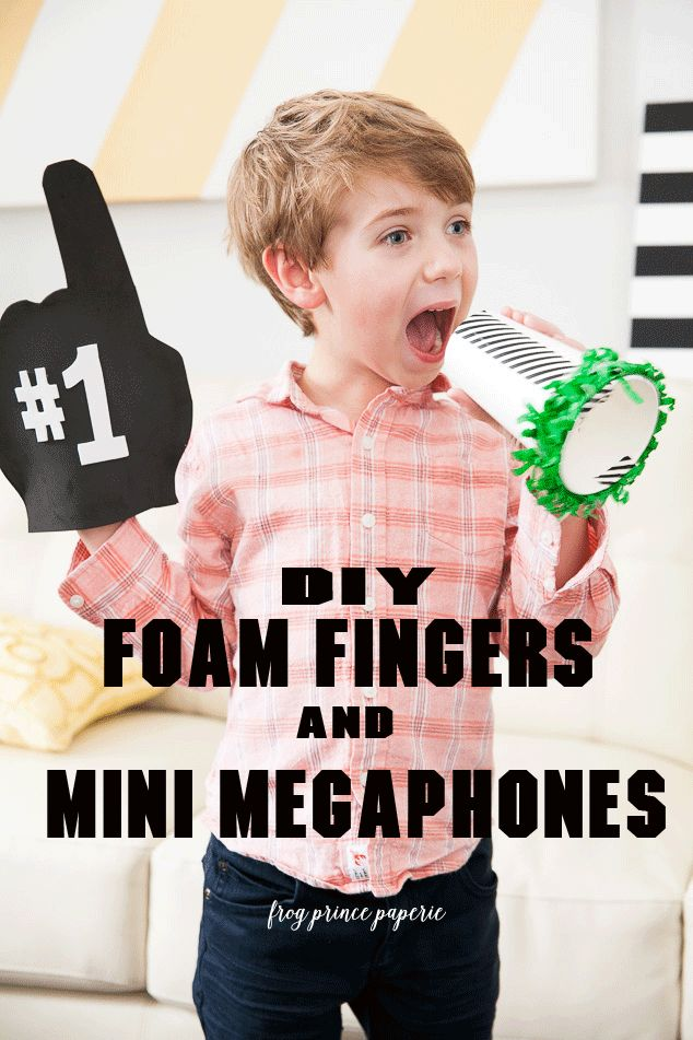 Crafty tutorials to make a football foam finger and a mini megaphone for cheering your team on at your Superbowl Party!