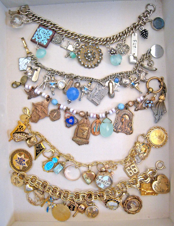 Using old jewlery for braclets... Maybe I can finally do this with my great aunt's costume jewelry I inherited. Somehow it's been too precious to tamper with...but I don't wear it much.