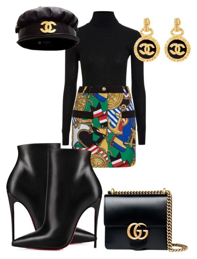 """Ahoy Mate!"" by roxysgotmoxy on Polyvore featuring Topshop, Love Moschino, Christian Louboutin, Chanel and Gucci"