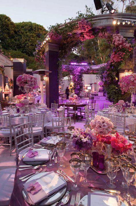 Outdoor purple table settings.