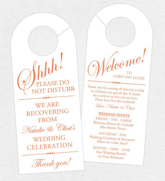 set of 10 double sided door hanger for wedding hotel welcome bag wedding weekend itinerary destination wedding schedule of events