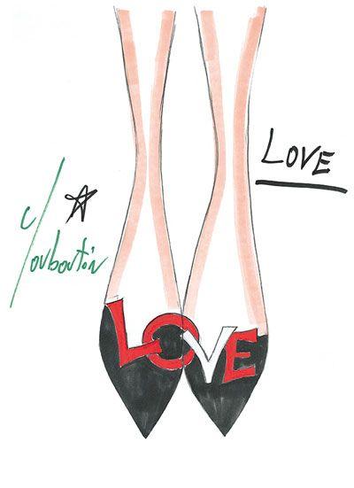 Christian Louboutin 20th Anniversary Shoe Sketch.