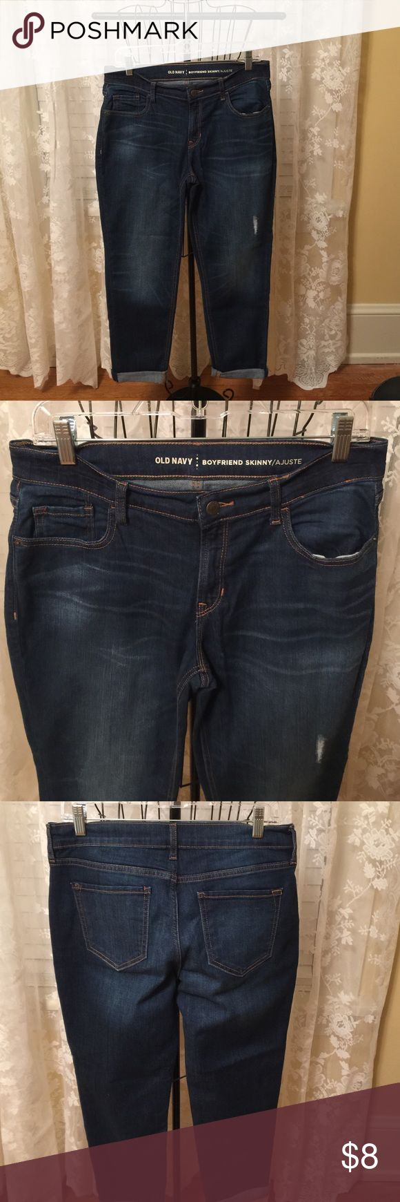 Ladies Old Navy Boyfriend Crop Jeans Old Navy boyfriend skinny crop jeans like new condition size 4 72% cotton 27% polyester 1% spandex Old Navy Jeans Ankle & Cropped
