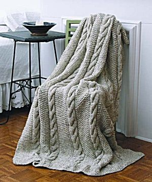 Natural Cables Throw. Free pattern.