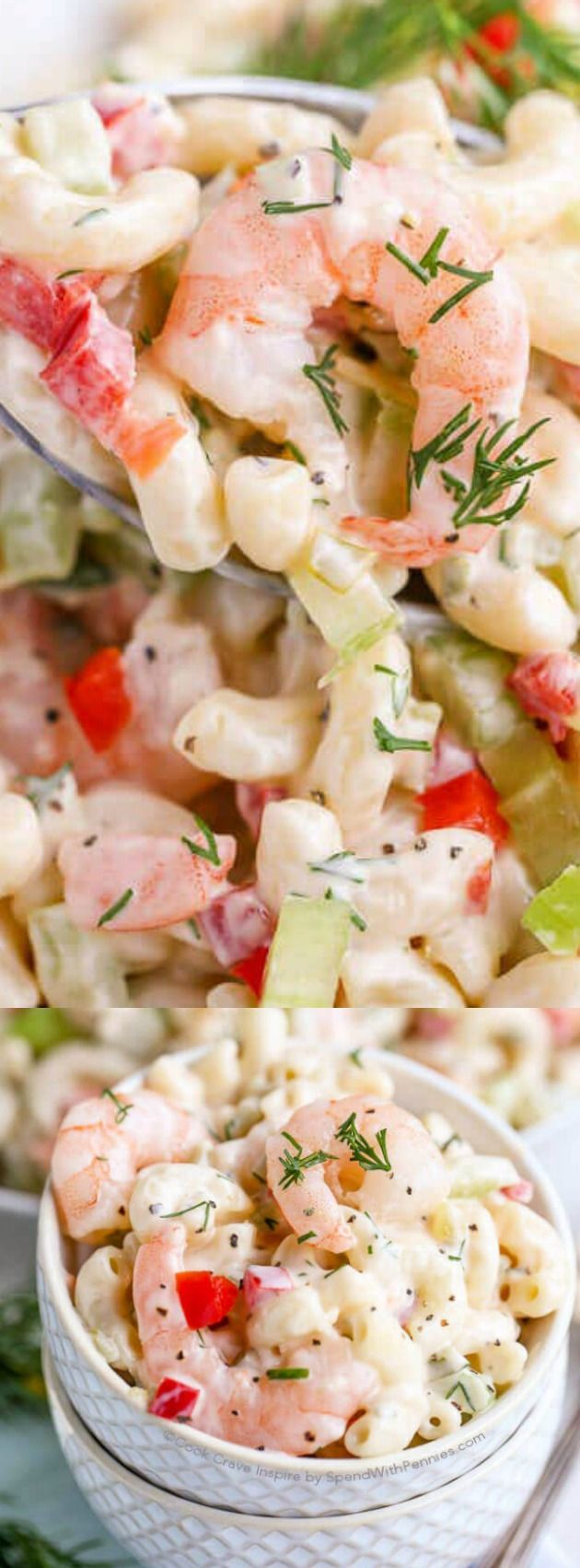 This Shrimp Pasta Salad from Spend with Pennies makes the perfect dish to take to your next potluck or family gathering! It is so easy to make and comes together in just a few minutes.