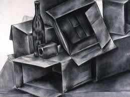 Only of cardboard boxes, this detailed collection of shades and shadows of charcoal utilises a number of depths to create a detailed image.