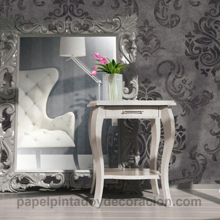 Papel pintado flor vintage en relieve gris oscuro gris oscuro y con brillo fondo grisaceo PDA8953723