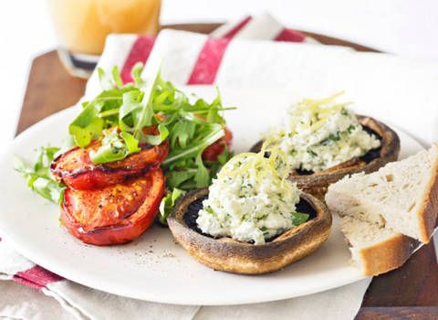 Roasted Tomatoes and Mushrooms with Herbed Ricotta