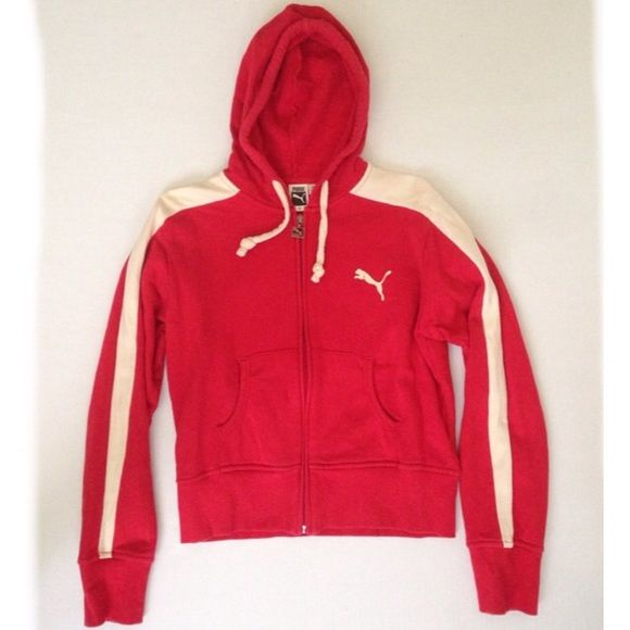 "Puma Zip Up Hoodie Red and cream zip up Puma hoodie. Red color is is slightly dark burnt orange in hue. This hoodie jacket has a cute shorter fit and measures at 22"" from shoulder to bottom hem. Puma Jackets & Coats"