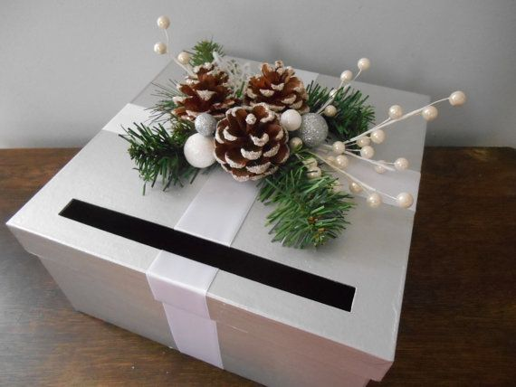 Winter Wonderland Wedding Card Box Silver and White with Pinecones Snowflakes on Etsy, $48.00