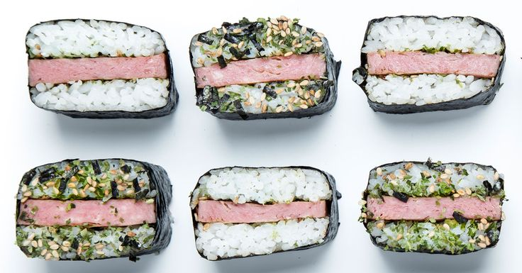 Spam musubi!   There is something magical about canned lunch meat smashed between sticky rice and dried seaweed. It's known as the Spam musubi, Hawaii's unapologetic, undeniably delicious Japanese-American sushi mash-up.