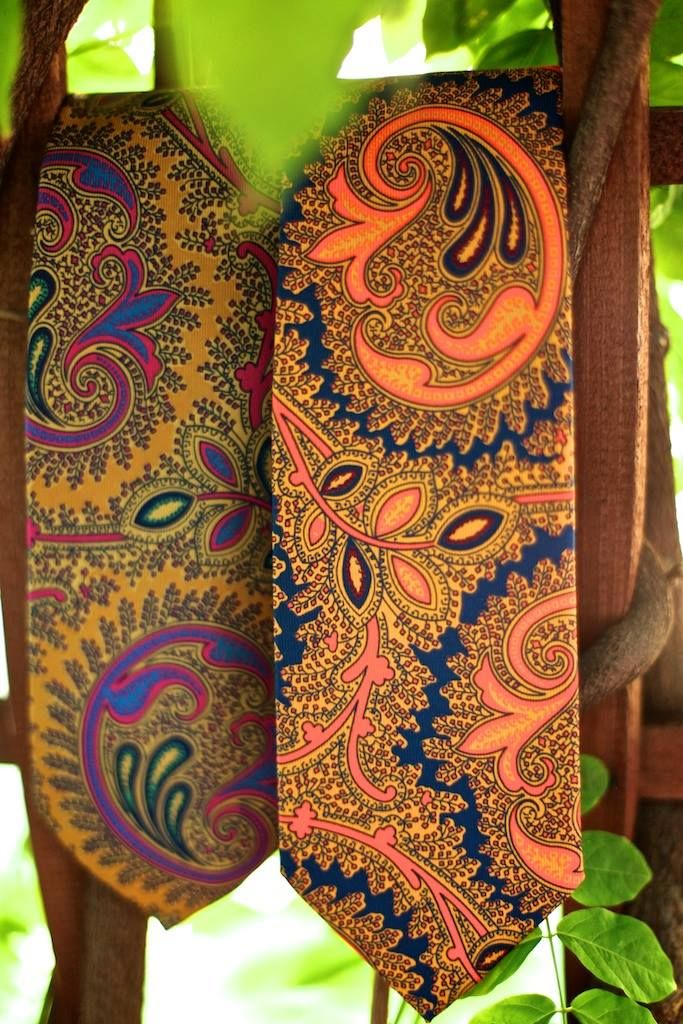 A Mustard/Purple large Paisley, and a Blue/Orange large Paisley, both on on silk gum twill.