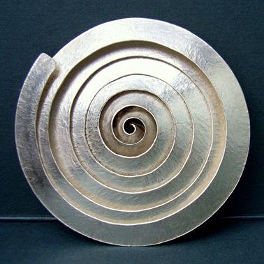 Spiral silver brooch by Debbie Long